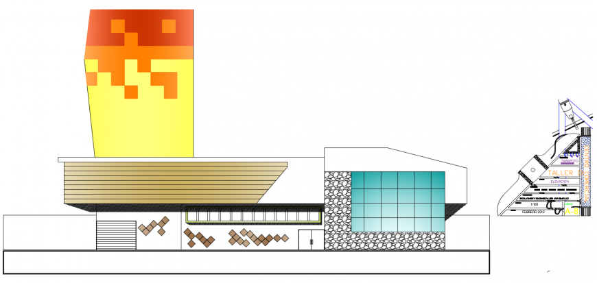 2d cad drawing of side exterior autocad software