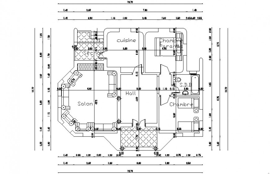 2d cad drawing of single floor detail