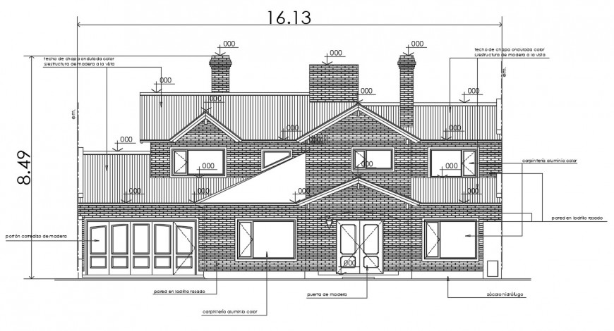 2d cad drawing of single housing plan 2 autocad software