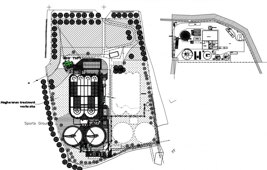 2d cad drawing of sports ground elevbation autocad software