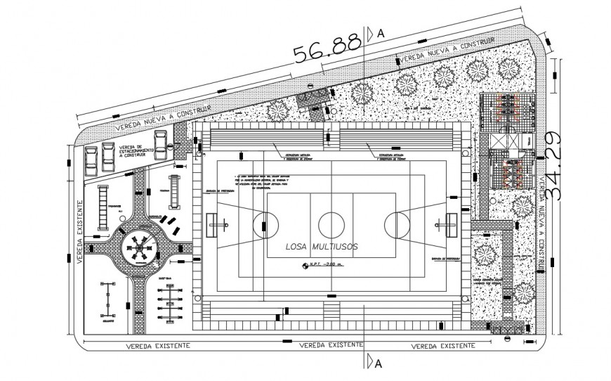 2d cad drawing of sports park autocad file