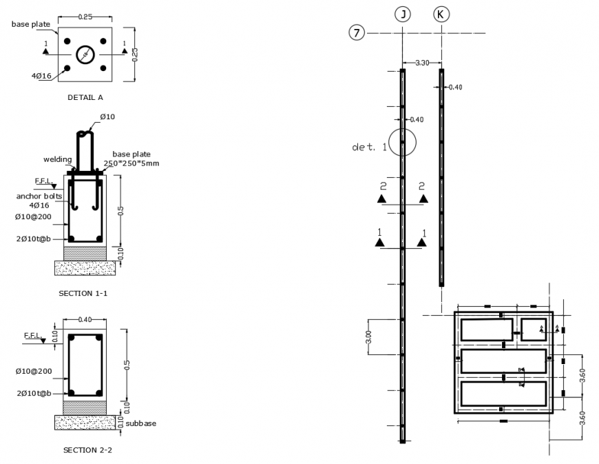 2d cad drawing of steel porch footing autocad software