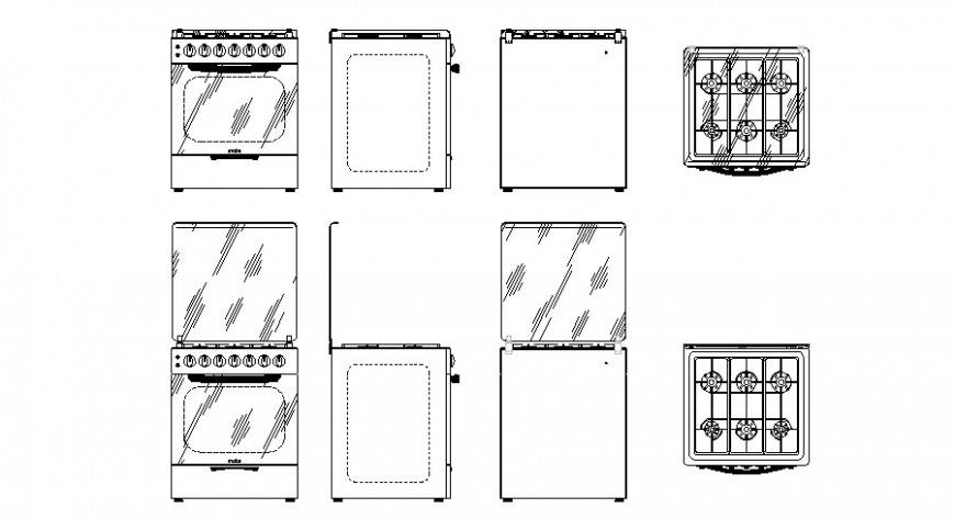 2d cad drawing of stove design