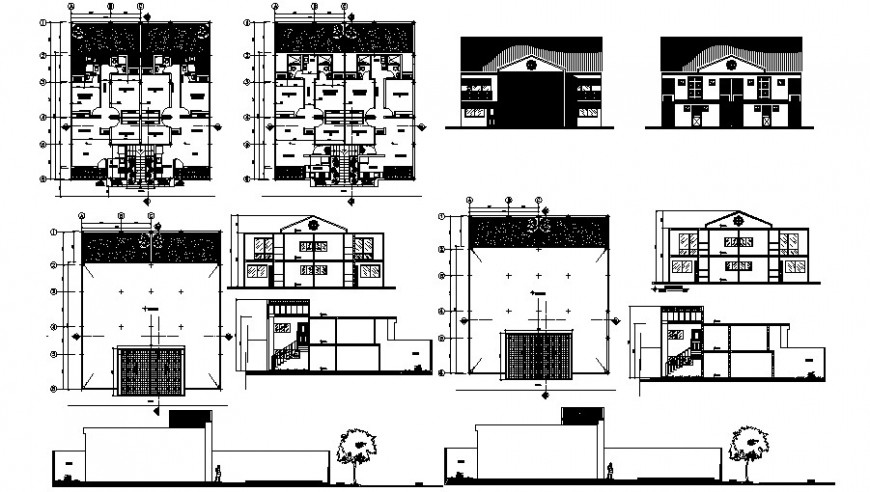 2d cad drawing of tetra familiar house elevation auto cad software
