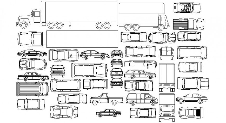2d cad drawing of the car in all variation types with different width auto cad software