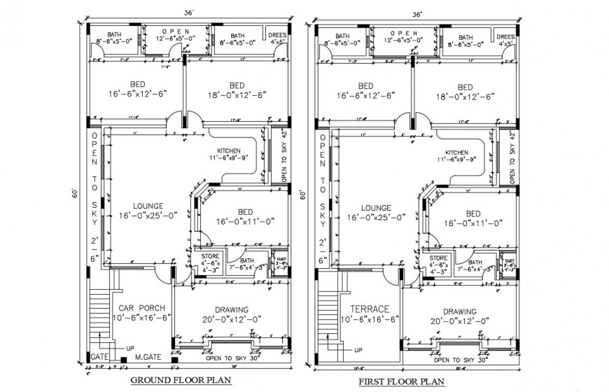 2d cad drawing of the ground floor and first-floor plan in autocad file