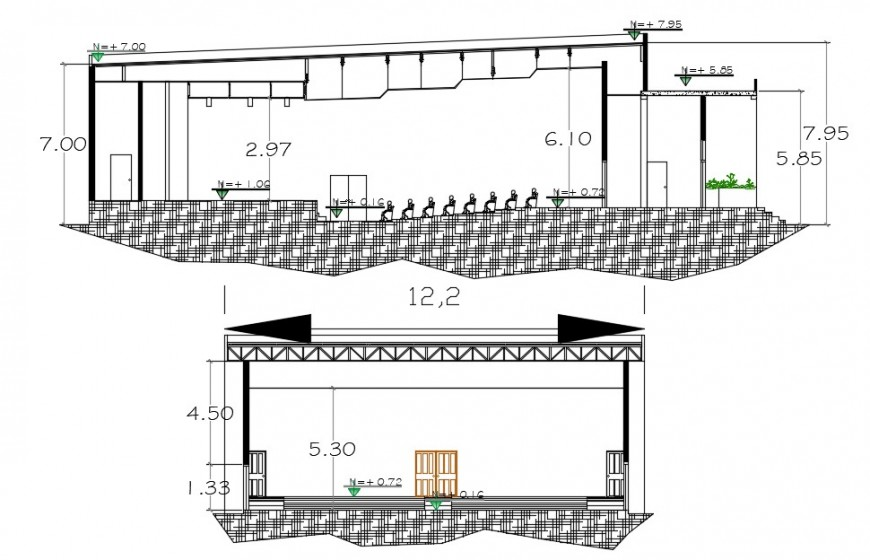 2d cad drawing of the side elevation of auditorium autocad software