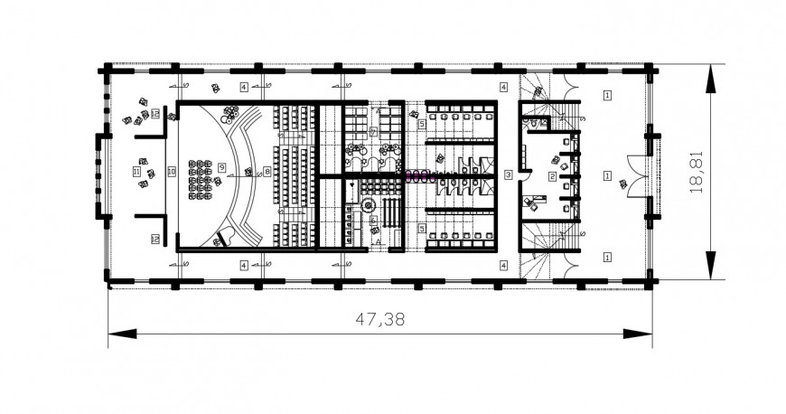 2d cad drawing of theatre club autocad software
