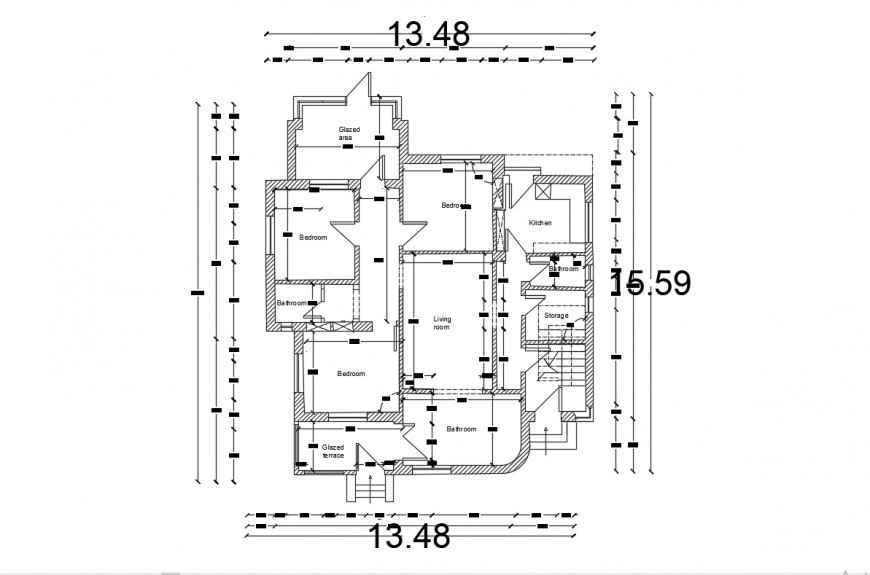 2d cad drawing of three-floor bedroom plan autocad file