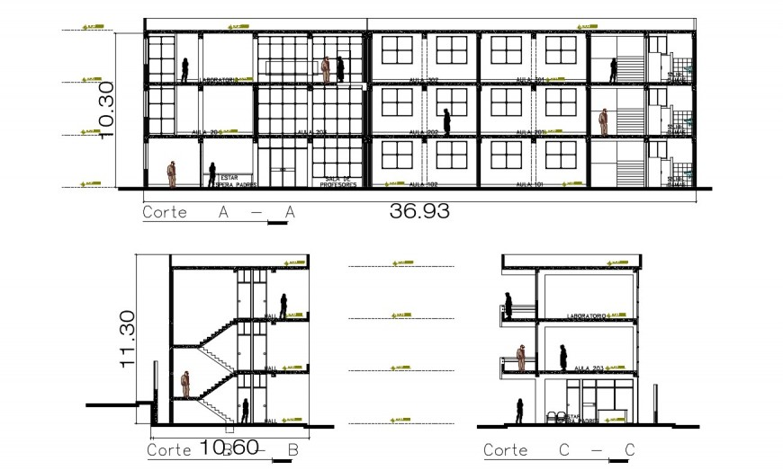 2d cad drawing of three-floor elevation school section autocad software