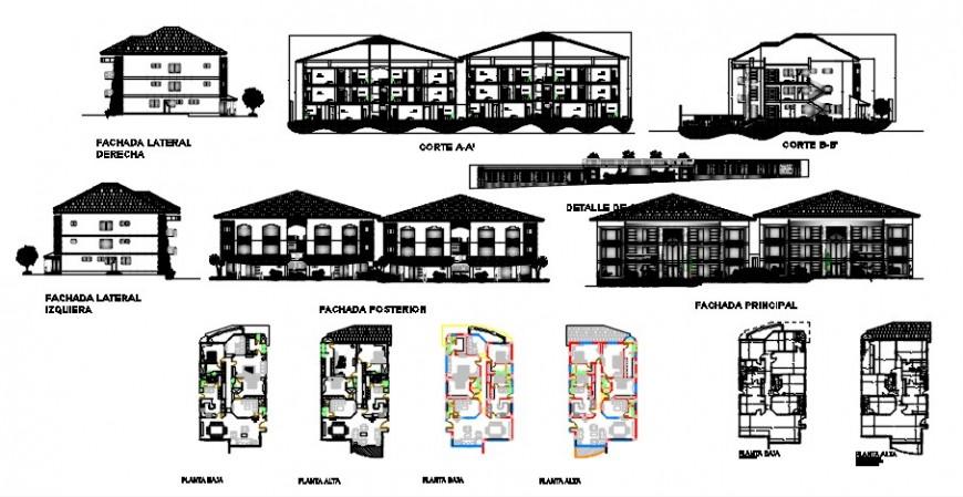 2d cad drawing of three-floor plan exterior Auto Cad software
