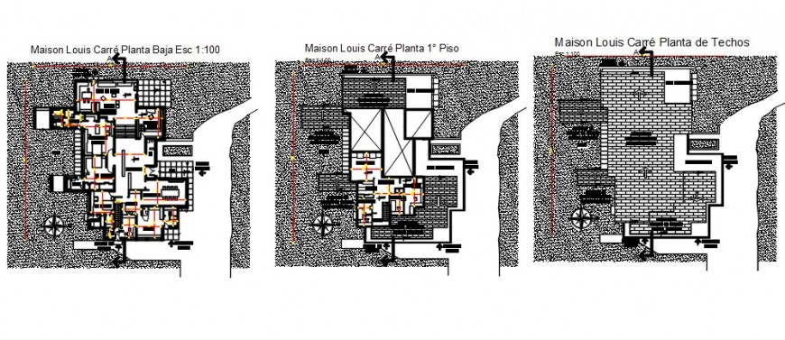 2d cad drawing of three floor plan 2 Auto Cad software
