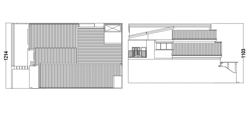 2d cad drawing of top and side elevation of PHDM house autocad software