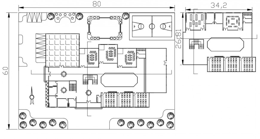 2d cad drawing of top elevation of school plan autocad software