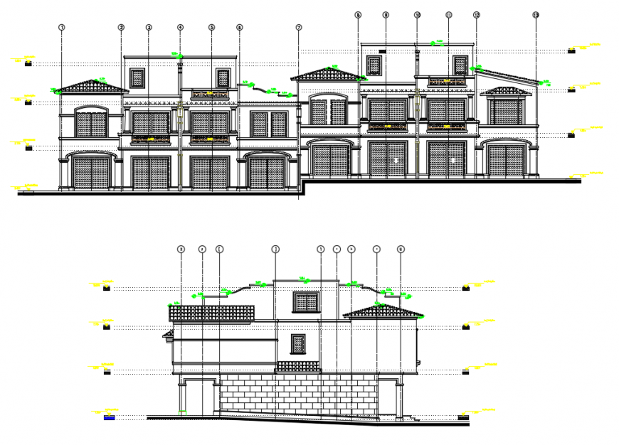 2d cad drawing of townhouse exterior auto cad software