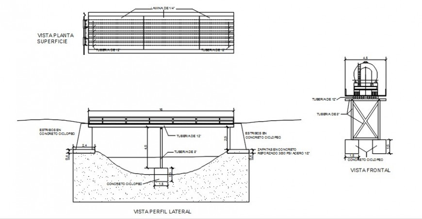 2d cad drawing of Tube and sheet metal bridge concrete support auto cad software
