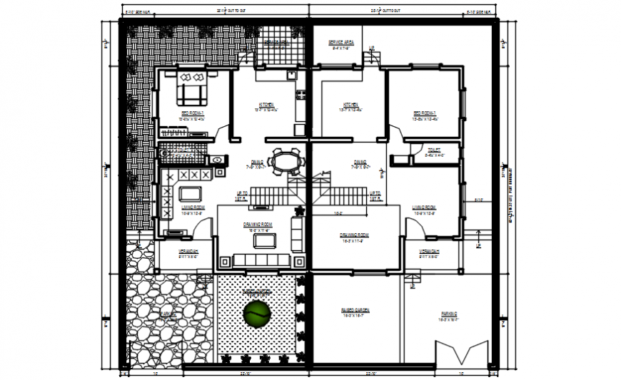 2d cad drawing of two flats plan autocad software