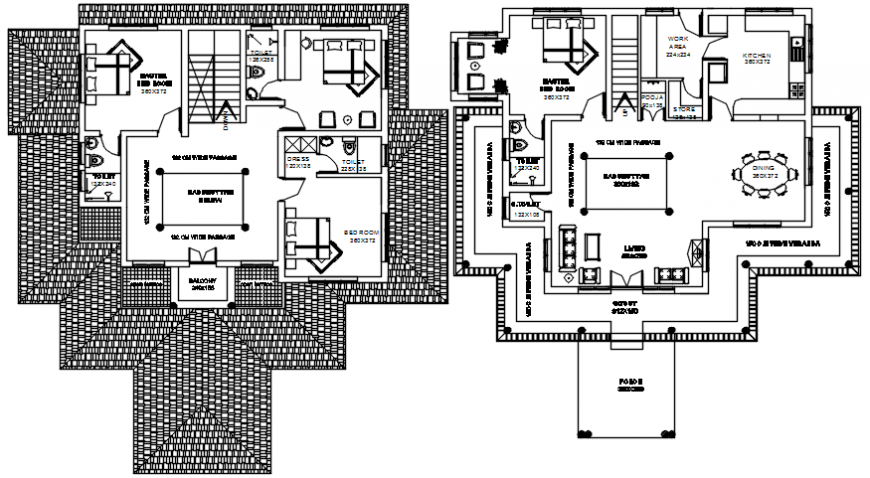 2d cad drawing of two floor bulding plan autocad software