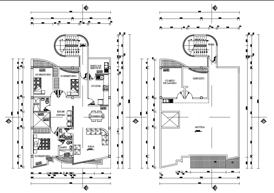 2d cad drawing of two housing floor auto cad software
