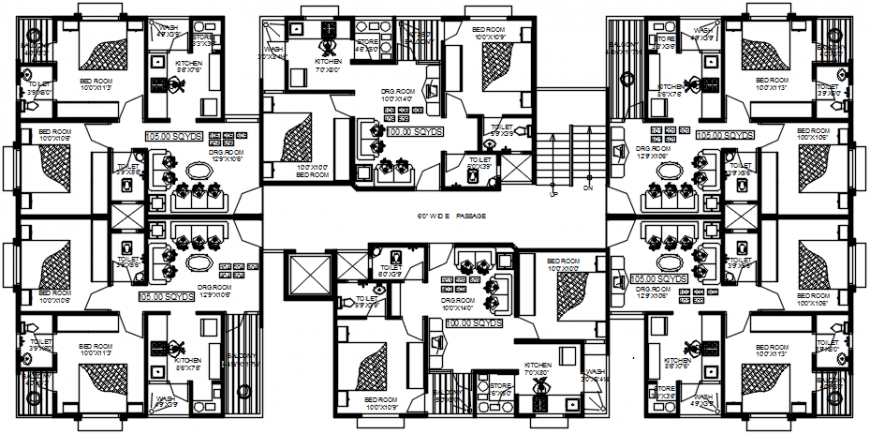 2d cad drawing of typical floor plan block-B autocad software