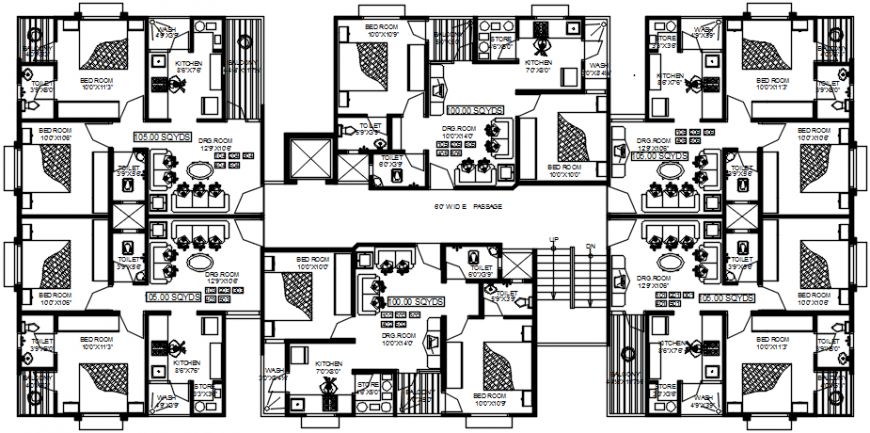 2d cad drawing of typical floor plan block-C autocad software
