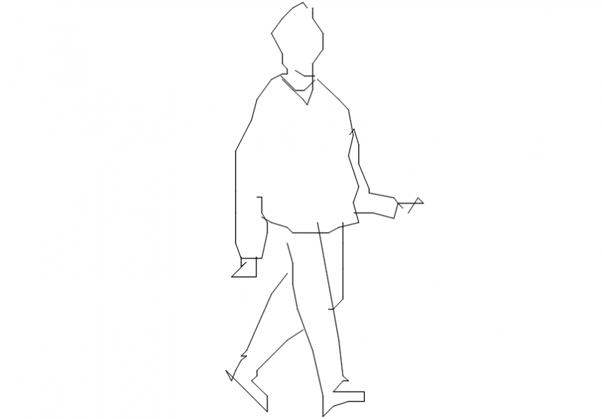 2d cad drawing of walking man AutoCAD software.