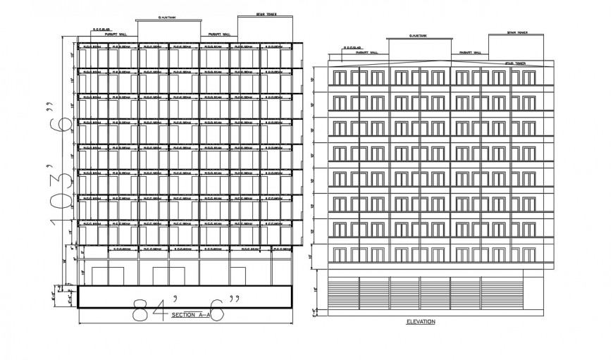 2d cad drawing of wide apartment elevation autocad software