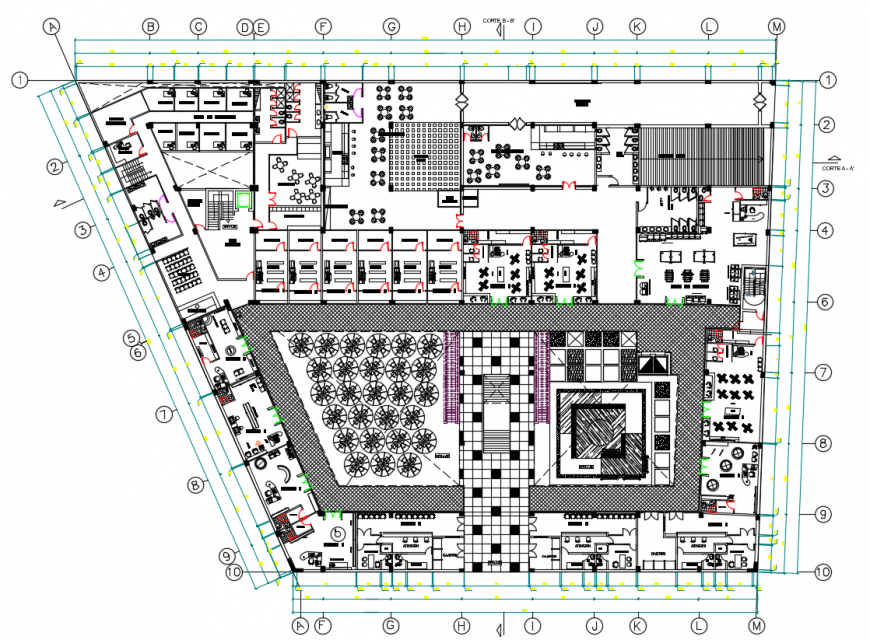 2d cad drawing of work station shopping mall autocad software