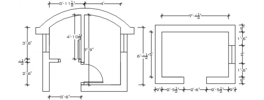2d cad drawing toilet room Autocad software