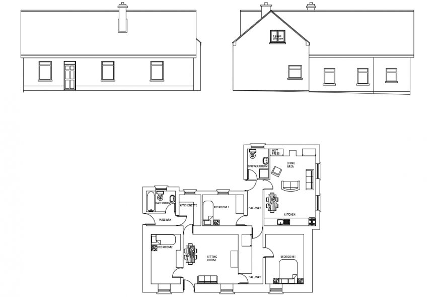 2d cad drawing with plan and elevation autocad software