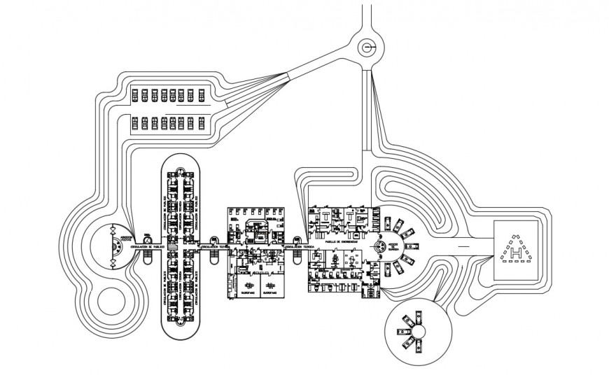 2d CAD drawings details of hospital building dwg file