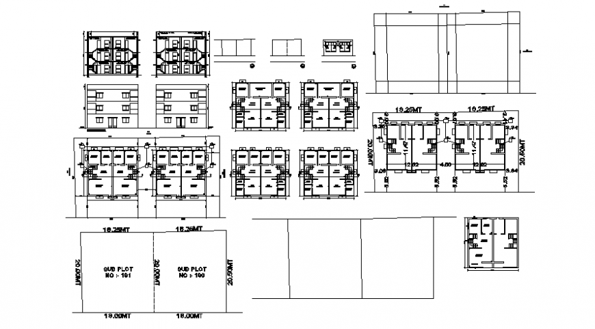 2d CAD drawings details of housing apartment plan elevation and section dwg file