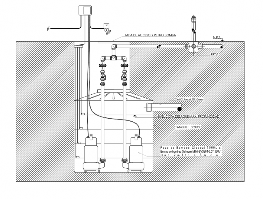 2d CAD drawings details of water tank blocks autocad software file