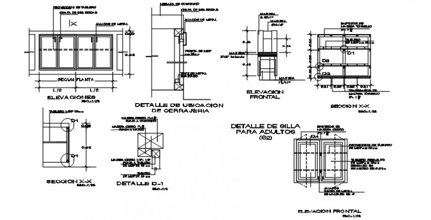2d CAD drawings details of window blocks plan and section dwg file