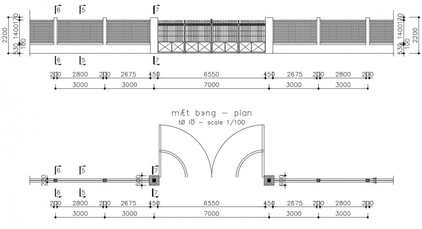2d CAD drawings of entrance gate plan and elevation dwg file