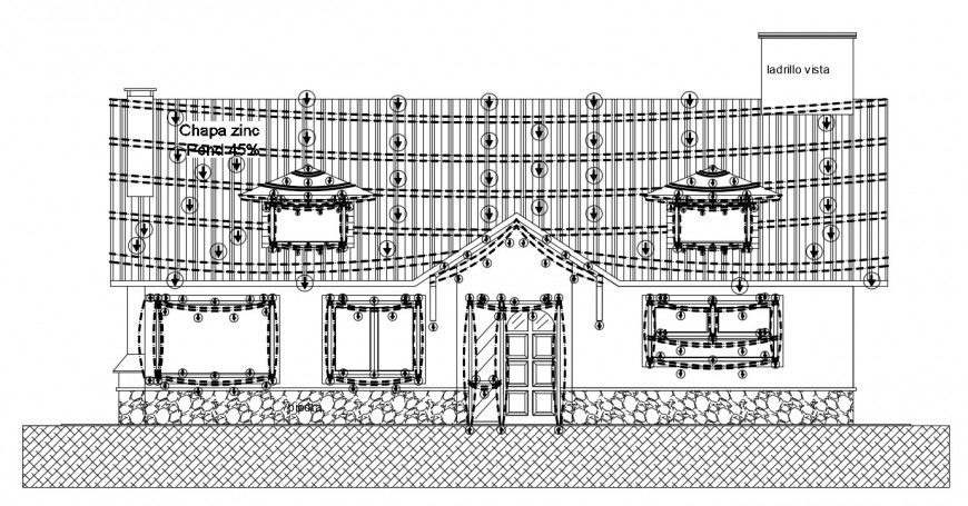 2d CAD drawings of house elevation dwg autocad software file