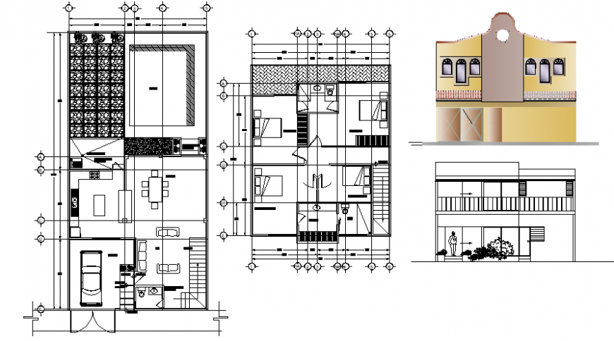 2d CAD drawings of house layout plan and elevation dwg file