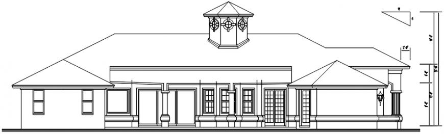 2d CAD drawings of housing bungalow elevation dwg autocad file