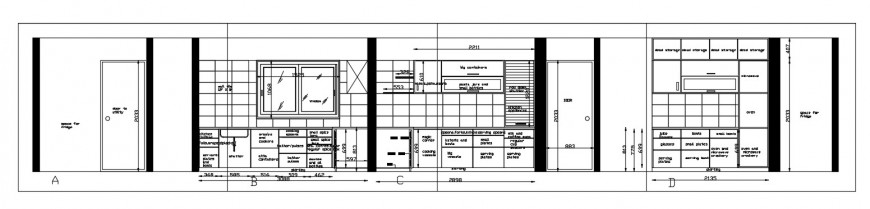 2d CAD drawings of kitchen elevation details autocad software file