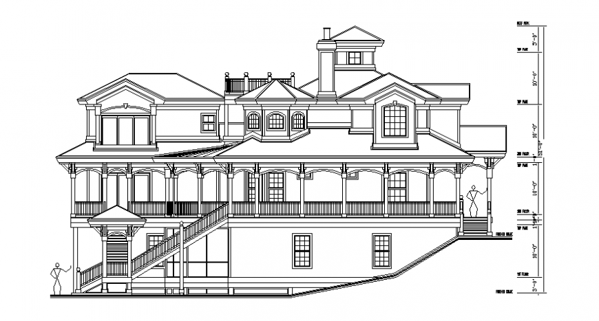 2d CAD drawings of residential bungalow elevation autocad file