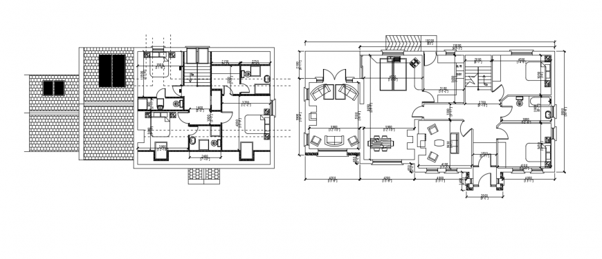 2d CAD drawings of residential bungalow layout floor plan autocad file