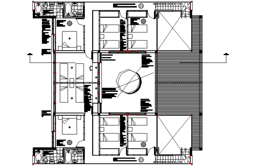 2d cad drawings of spacious  hotel room autocad software