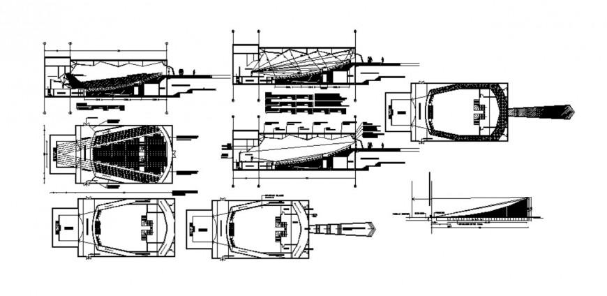 2d CAD drawings plan of auditorium building autocad file