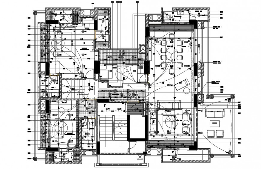 2d cad electrical layout plan of a house in dwg file