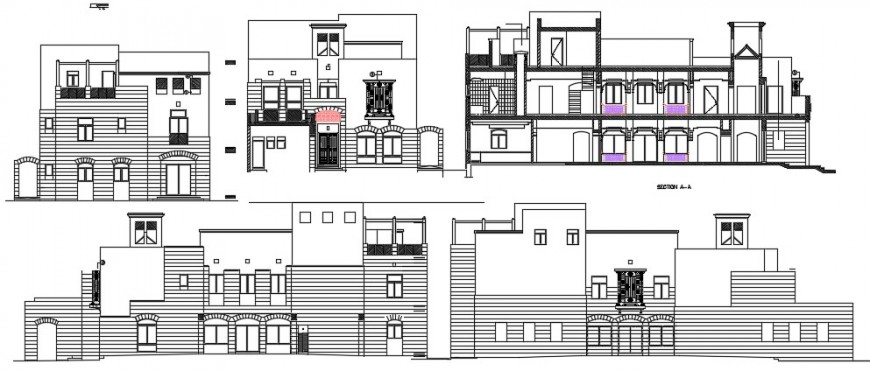 2d CAD elevation and section of apartment autocad software file