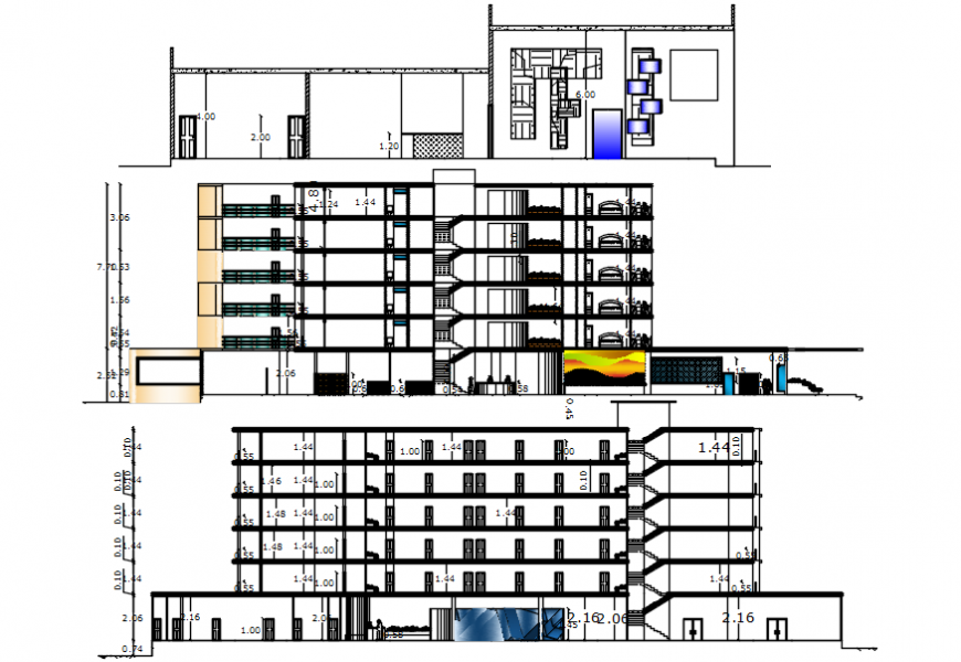 2d CAD elevation and section of hotel building dwg file
