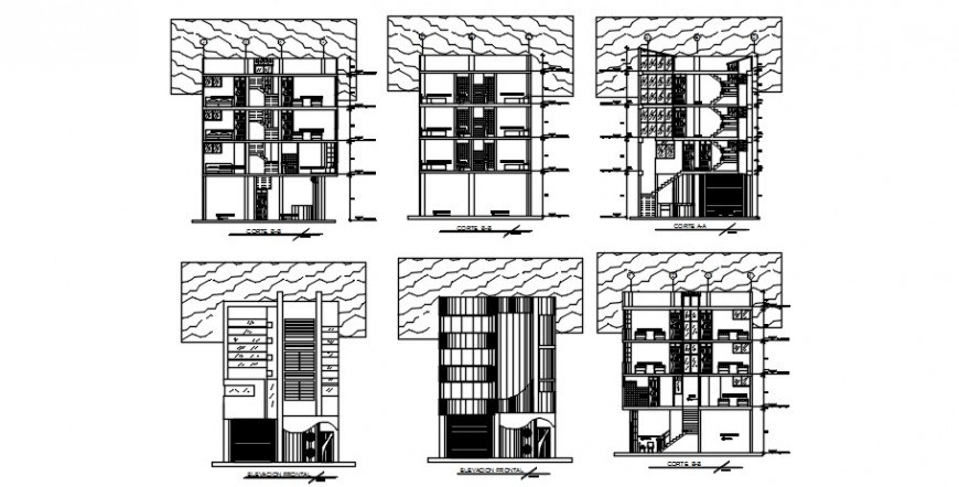 2d CAD elevation and sectional details of hotel building dwg file