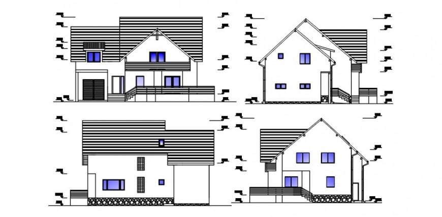 2d CAD elevation detailing of housing units autocad file