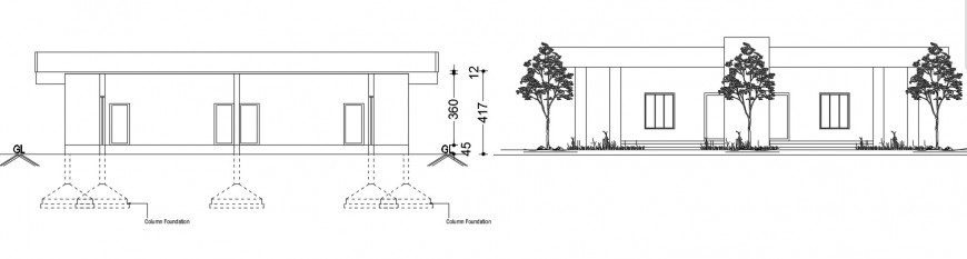 2d CAD elevation drawings of single story house autocad file