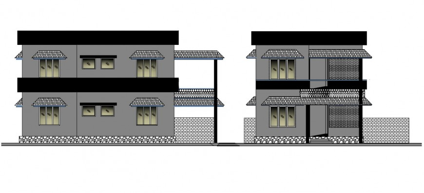 2d CAD elevation of apartment drawings dwg autocad file
